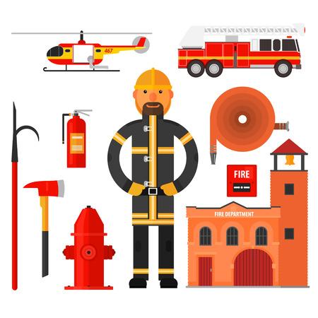 bombero de rojo: Fuego carácter manguera de helicóptero de la estación de bomberos de estilo plano de lucha contra incendios. Elementos para la infografía. Vectores