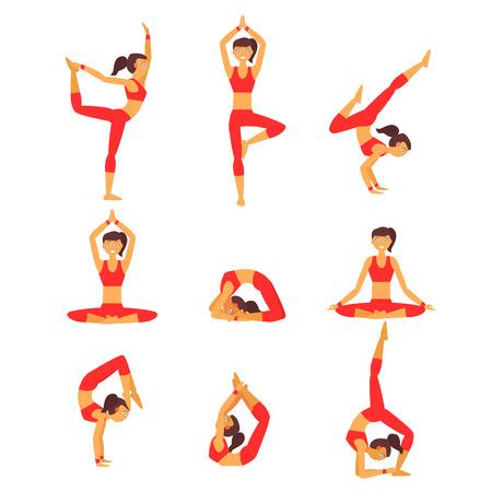 Vector Yoga Abbildung. Yoga-Set. Yoga-Übungen. Frauen Yoga. Yoga-Kurs, Yoga-Zentrum, Yoga-Studio. Yoga Plakat. Skizzieren Sie mit Yoga Asanas. Mädchen tut Yoga-Übungen. Gesunder Lebensstil.