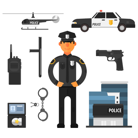 police officer: Policeman police department police helicopter police car. Flat style. Elements for infographic. Vector set