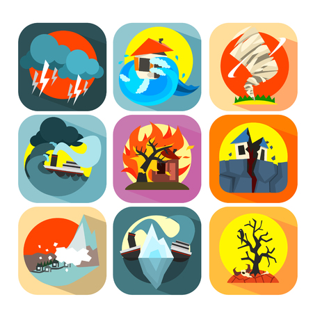 hurricane disaster: Natural disaster catastrophe and crisis icons flat set vector