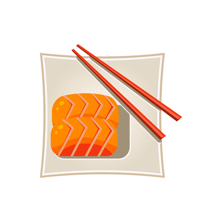 cooked rice: Sushi with Salmon and Sticks Served Food. Colourful Vector Illustration