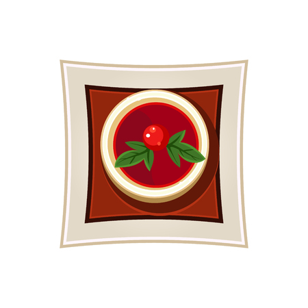 served: Borscht with a Cherry Tomato and Basil Leaves Served Food. Colourful Vector Illustration