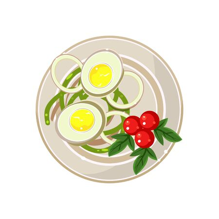 boiled eggs: Breakfast with Cherry Tomatoes and Boiled Eggs Served Food. Colourful Vector Illustration