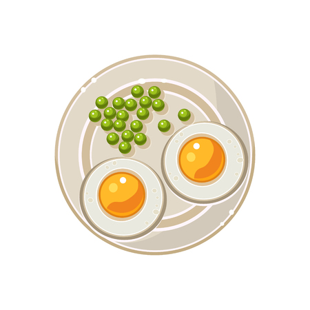 green peas: Breakfast with Grilled Eggs and Green Peas Served Food. Colourful Vector Illustration