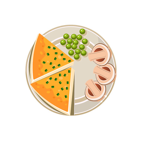 boiled: Served delicious food on plate. Colourful Vector Illustration
