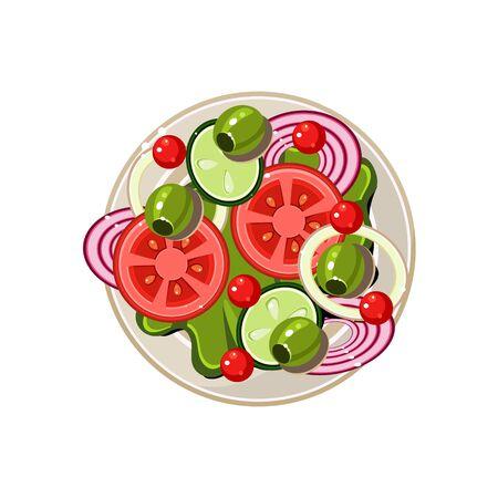 sliced: Salad of Sliced Vegetables Served Food. Colourful Vector Illustration