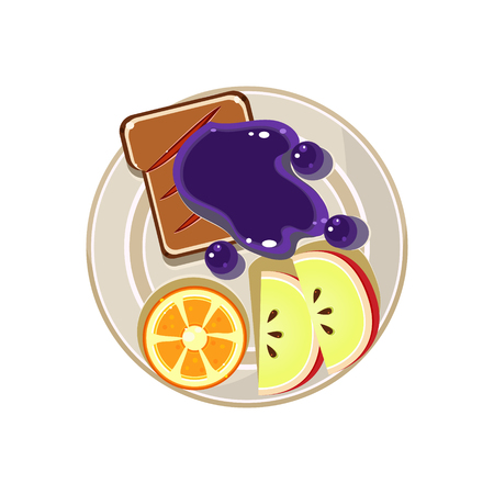 sliced fruit: Sliced Fruit and Toast with Jam. Breakfast Served Food. Colourful Vector Illustration Illustration