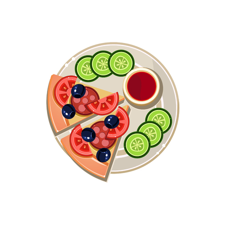 served: Pizza Slices, Sauce and Sliced Cucumbers Served Food. Colourful Vector Illustration Illustration