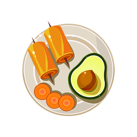 served: Avocado, Rolls and Carrot Served Food. Colourful Vector Illustration Illustration