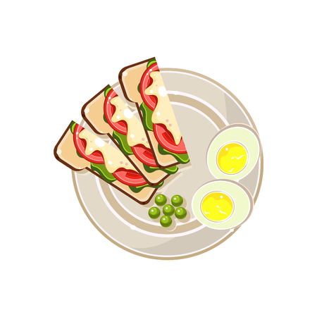 boiled: Morning Hot Sandwiches and Eggs Served Food. Colourful Vector Illustration Illustration
