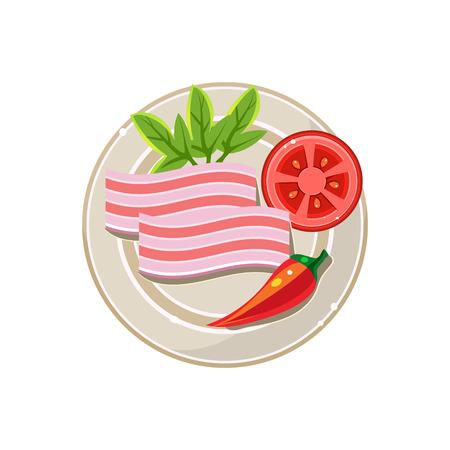 lard: Lard, Pepper and Tomato Served Food. Colourful Vector Illustration