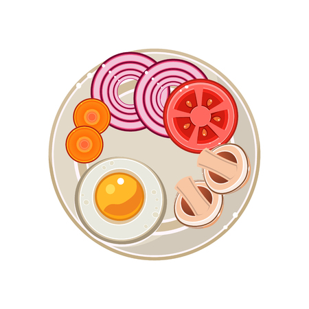 Served Breakfast with Fried Egg and Vegetables. Colourful Vector Illustration