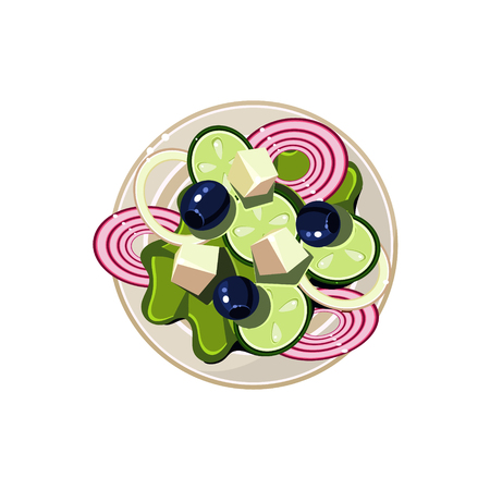 served: Greek Salad with Vegetables and Cottage Cheese Served Food. Colourful Vector Illustration