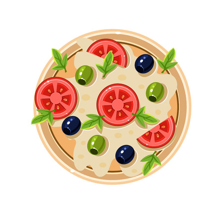 served: Pizza with Tomatoes and Olives Served Food. Colourful Vector Illustration