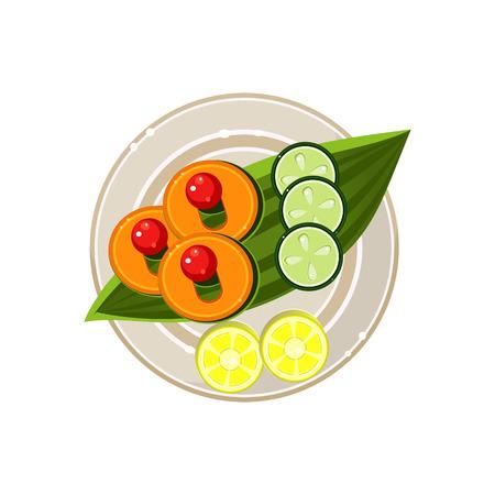 garnish: Island Food on a Palm Tree Leaf Served Food. Colourful Vector Illustration
