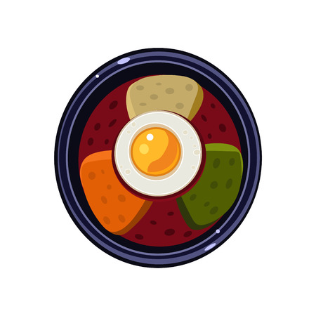 served: Soup with Toasts and Fried Egg Served Food. Colourful Vector Illustration