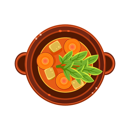 borscht: Vegetable and Carrot Soup in a Bowl Served Food. Colourful Vector Illustration