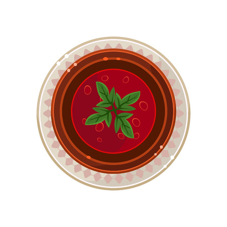 borscht: Borscht in a Bowl Served Food. Colourful Vector Illustration Illustration