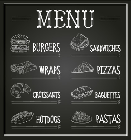Chalkboard Menu Template. Monochrome Vector Illustration set Ilustracja