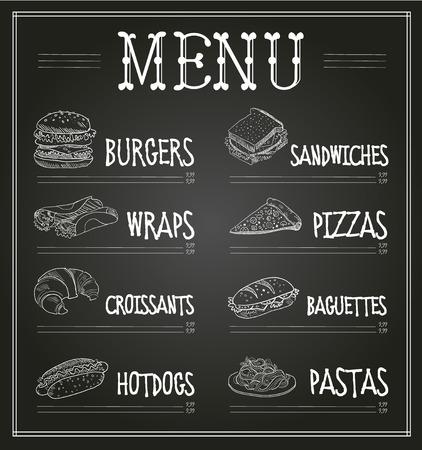 bocadillo: Modelo del menú de la pizarra. Ilustración monocromática vectorial conjunto Vectores