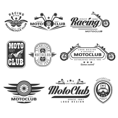 Set of vintage motorcycle labels, badges and design elements. Vector Collection.