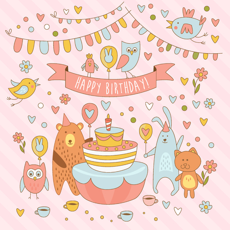 pussycat: Happy birthday holiday card with cute animals, bear, rabbit, owl and the Pussycat. Having fun around the birthday cake vector illustration Illustration