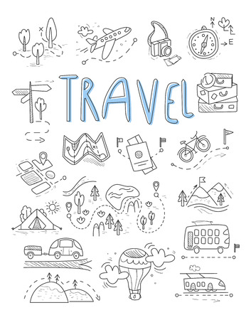 avion caricatura: Travel, camping icons in Doodle style great set vector illustration