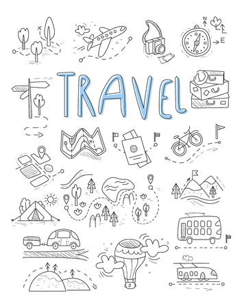 avion caricatura: Viajes, iconos de camping en el estilo Doodle gran conjunto ilustraci�n vectorial