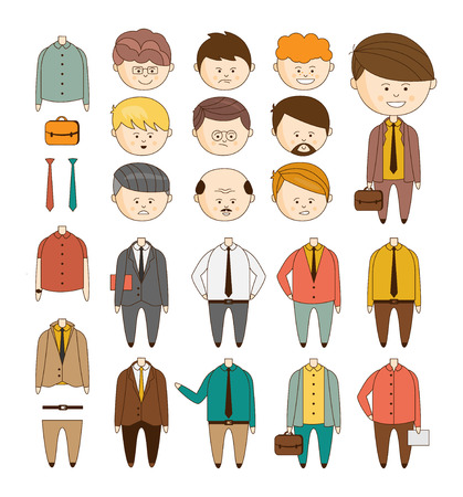 Create your ideal Businessman. Vector set of details to create a character doodle style vector illustration