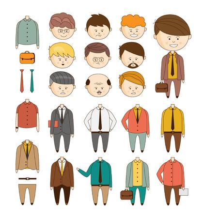 empleado de oficina: Cree su hombre de negocios ideal. Vector conjunto de datos para crear una ilustración vectorial estilo de dibujo de caracteres