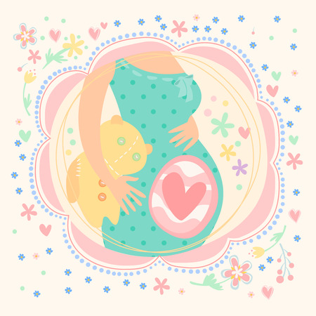 childbearing: Pregnant woman with baby inside, happy child. Postcard hand-drawn vector illustration Illustration