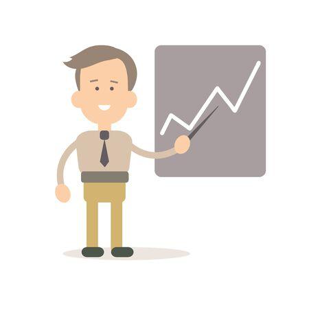 document management: Businessman presentation at the blackboard vector illustration in flat style
