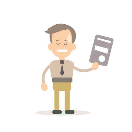 leveling: Businessman training vector illustration in flat style