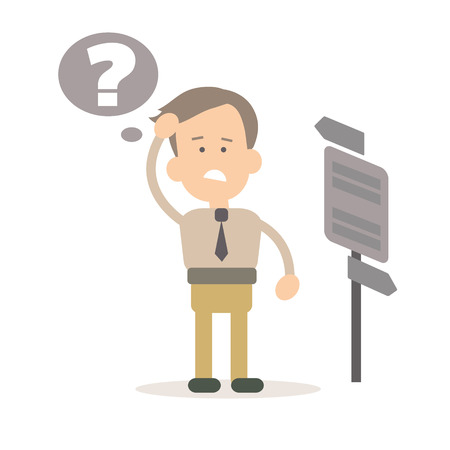 document management: Businessman the solution of the problem, the idea vector illustration in flat style Illustration