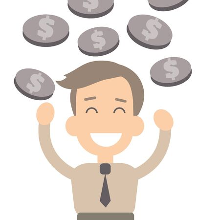 document management: Businessman success vector illustration in flat style