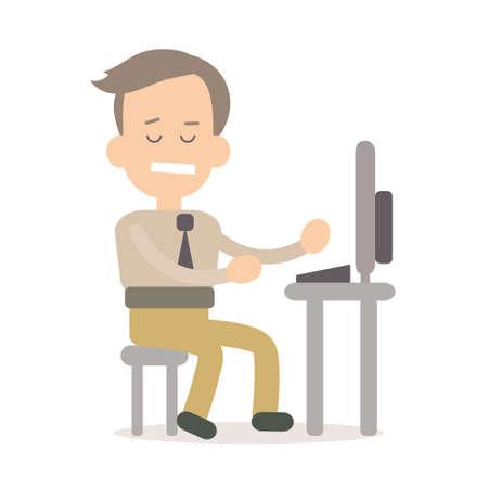 document management: Businessman programming vector illustration in flat style