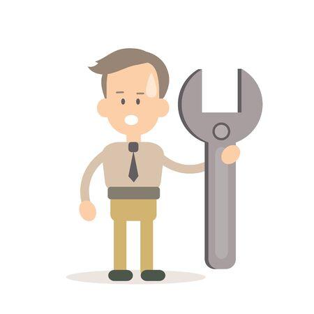 configure: Businessman programming vector illustration in flat style