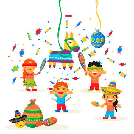 Kinderen vieren Posada, het breken van de traditionele ezel Pinata spel vector illustratie