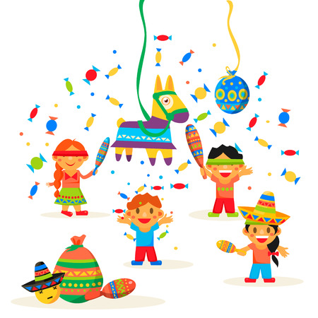 Children celebrate Posada, breaking the traditional donkey Pinata play vector illustration Illustration