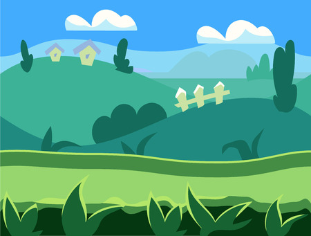 foreground: Seamless cartoon nature landscape, unending background with soil, trees, mountains and cloudy sky layers vector illustration Illustration