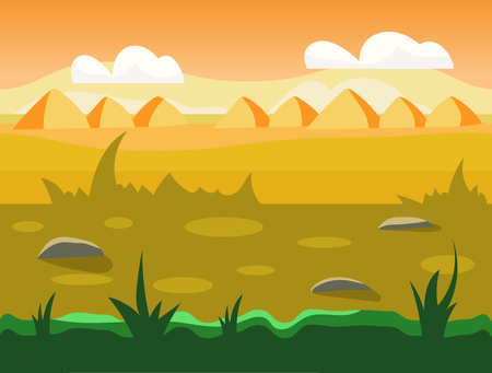 unending: Seamless cartoon nature landscape, unending background with soil, trees, mountains and cloudy sky layers vector illustration Illustration