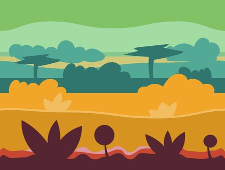cloudy: Seamless cartoon nature landscape, unending background with soil, trees, mountains and cloudy sky layers vector illustration Illustration