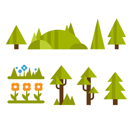 Trendy and beautiful set of flat forest elements vector Çizim