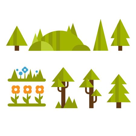 Trendy en mooie reeks vlakke boselementenvector Stock Illustratie
