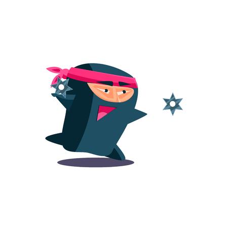 ninja: Cute Emotional Ninja Throwing a Shuriken. Flat Vector Illustration Illustration