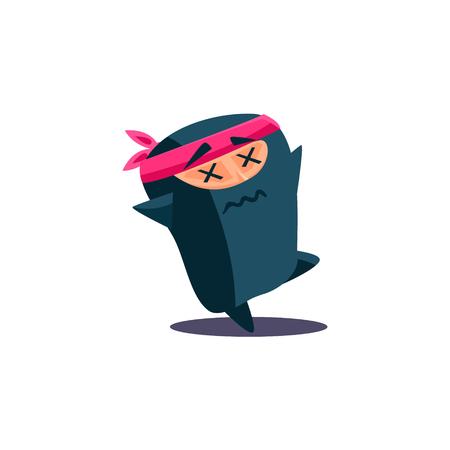hardly: Cute Emotional Ninja Dying. Flat Vector Illustration