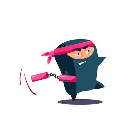 nunchaku: Cute Emotional Ninja with Nunchaku. Flat Vector Illustration