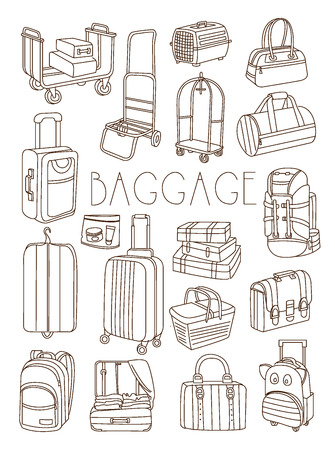 baggage: Travel Bags and Suitcases, Vector Hand Drawn Illustration Set Illustration