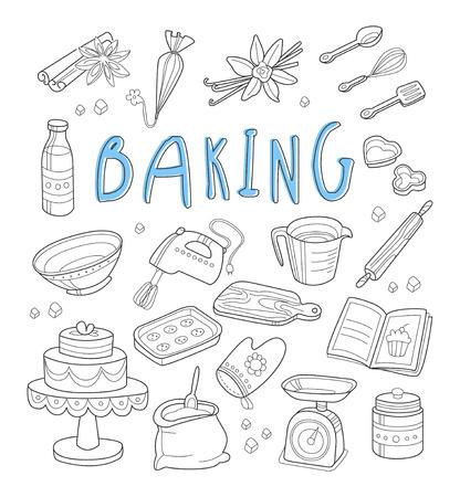 Bakkerij en dessert doodles. Hand getrokken vector illustratie.