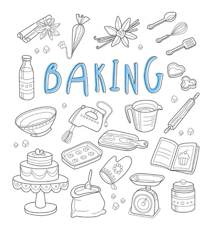 Bakery and dessert doodles. Hand drawn vector illustration.